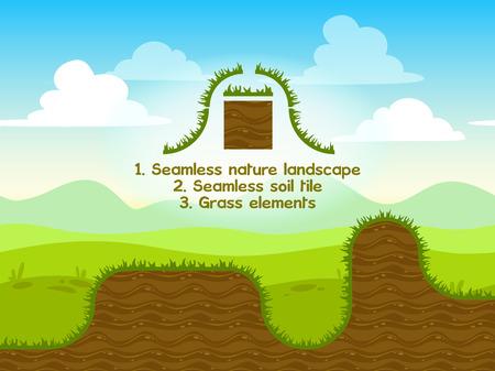jeu: Paysage de la nature transparente avec les �l�ments sol carrelage ang d'herbe pour la conception de jeux Illustration