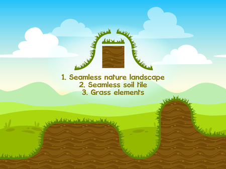 Seamless nature landscape with soil tile ang grass elements for game design
