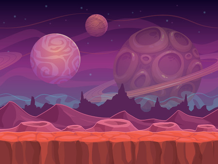 scene: Alien fantastic landscape, seamless space background, separated layers for game design.