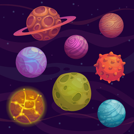 planeta verde: Conjunto de dibujos animados fantástico planeta en el fondo del espacio
