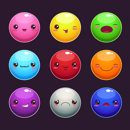 Set of cartoon round characters, different colors and emotions