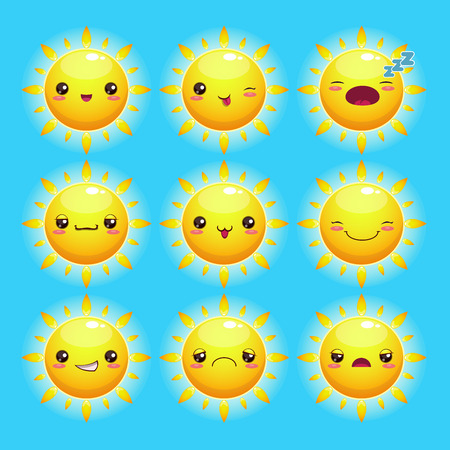 Funny cartoon sun with different emotions, kawaii style Vector