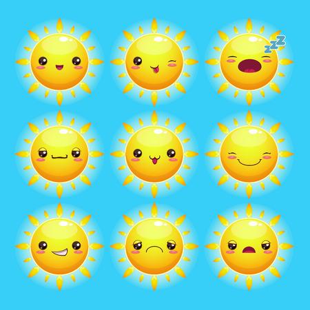 emot: Funny cartoon sun with different emotions, kawaii style