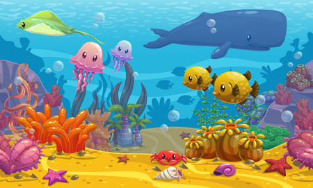 bottom of sea: Seamless underwater cartoon vector illustration