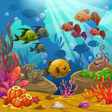red coral colony: Underwater world illustration