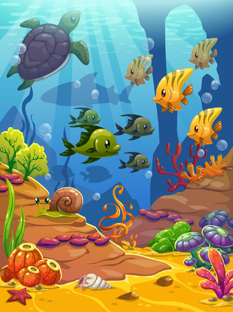 sea  scuba diving: Underwater world illustration