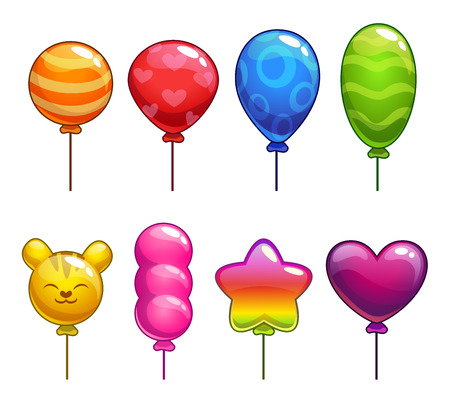 games: Set of cute cartoon balloons, with different shapes and colors