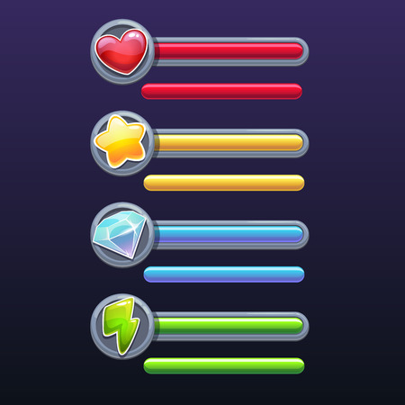 game design: Game resources icons with progress bars, vector elements on the dark background