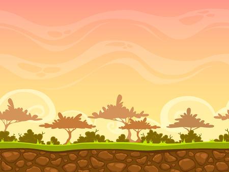 selva caricatura: Inconsútil de la historieta paisaje de sabana, vector de fondo sin fin con la hierba, arbustos, árboles y capas cielo de la tarde Vectores