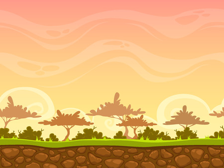 yellow earth: Seamless cartoon savanna landscape, vector unending background with grass, bushes, trees and evening sky layers