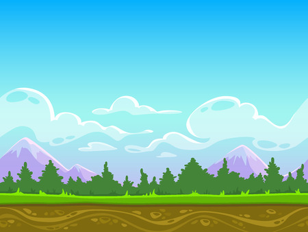 Seamless cartoon nature landscape, vector unending background with grass, forest, mountains and sky layers Ilustração