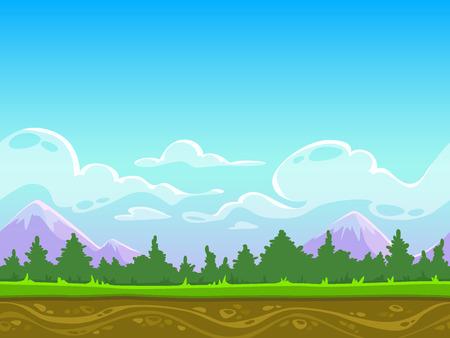 jeu: Seamless nature paysage de bande dessin�e, vecteur de fond sans fin avec de l'herbe, des for�ts, des montagnes et des couches de ciel