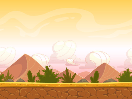 unending: Seamless cartoon desert landscape, vector unending background with ground, bushes, sand-dunes and sky layers Illustration