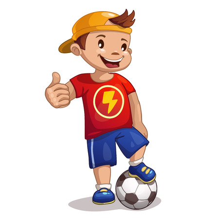 soccer game: Little cartoon boy with ball
