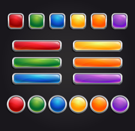 chrome border: collection of glassy buttons with chrome border