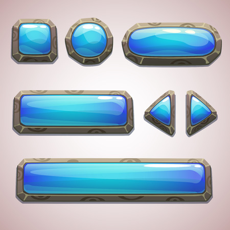 blue buttons: Set of cartoon blue buttons for web or game design