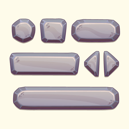 of stone: Set of cartoon stone buttons in gray colors Illustration
