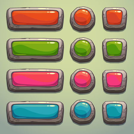 stone tablet: Set of cartoon stone buttons, vector ui elements