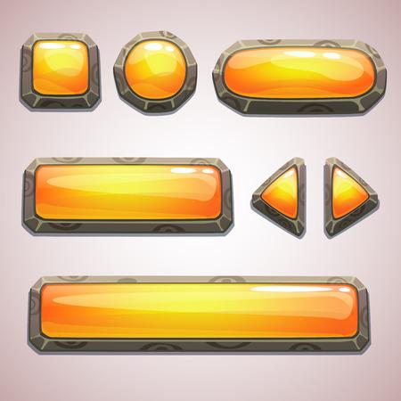 cartoon menu: Set of cartoon yellow buttons for web or game design