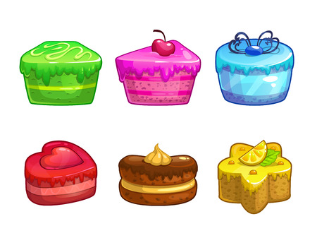 strawberry cartoon: Set of colorful sweet cakes, isolated vector elements