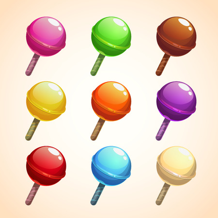 Set of colorful lollipops, sweet candies, vector illustration Illustration