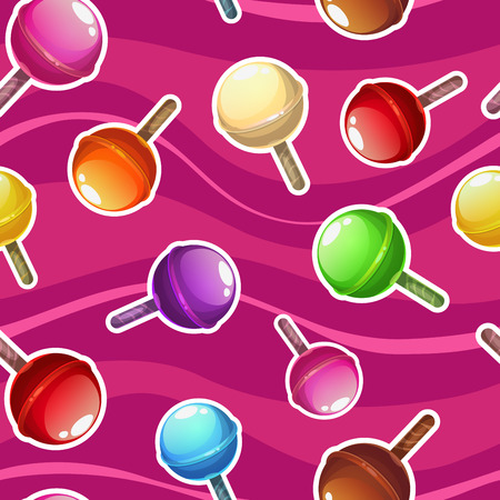 lollipop: Seamless pattern with colorful lollipops on pink background