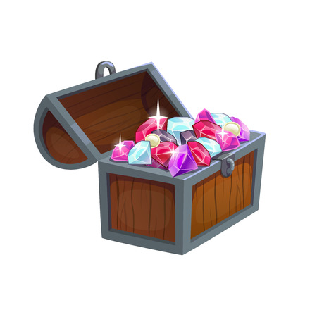 treasure chest: Cartoon wooden chest with diamonds Illustration