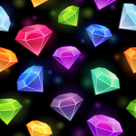 sapphire: Seamless pattern with gems and diamonds in different colors on the black background Illustration