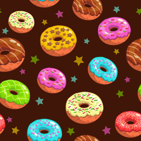 Seamless pattern with cute donuts and stars 矢量图像