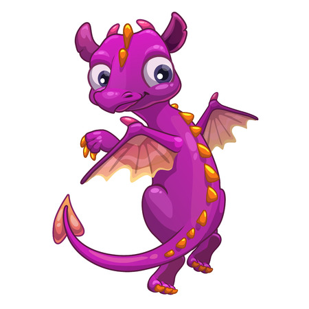 Little pink cartoon dragon, isolated vector illustration Vettoriali