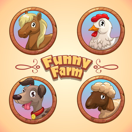 Vector illustration with funny farm animals