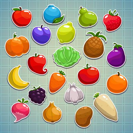 platano caricatura: Conjunto de frutas, bayas, verduras pegatinas