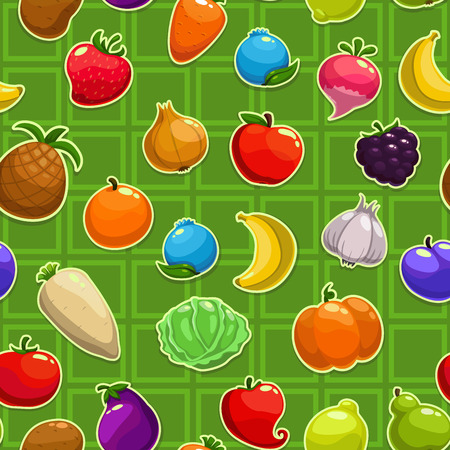 cabbage: Seamless pattern with fruit, berry, vegetable icons Illustration