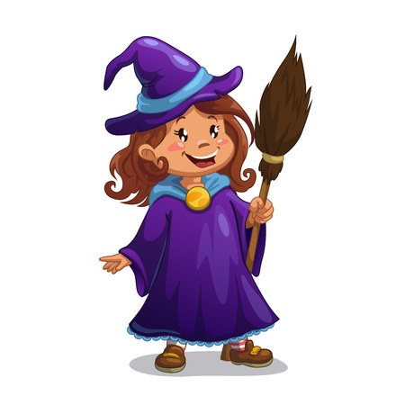 witchery: Little witch, cute cartoon girl in the Halloween costume with broom.