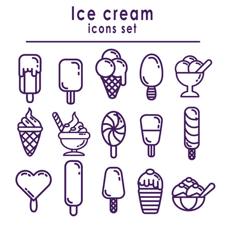 Set of ice cream icons, isolated vector on white background Иллюстрация