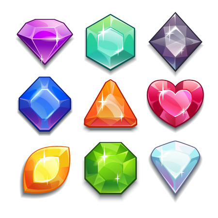 game design: Cartoon vector gems and diamonds icons set in different colors with different shapes, isolated on the white background.