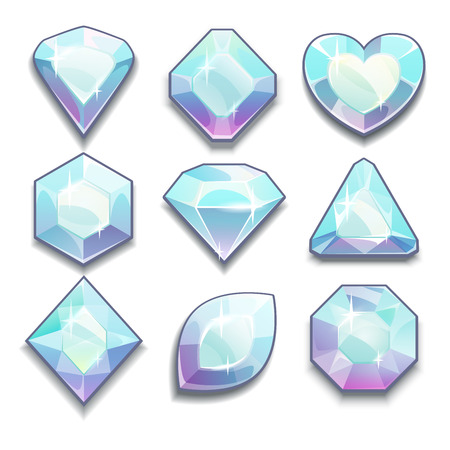 Set of white crystals with different shapes, isolated vector diamonds on white Illustration