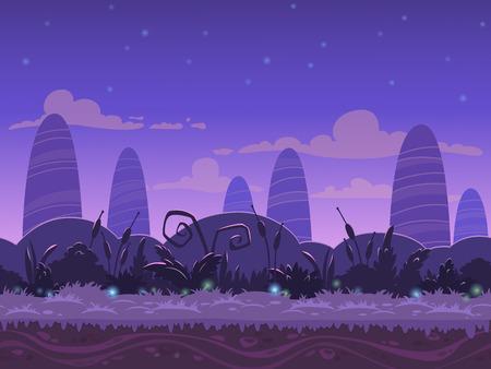 Naadloze nacht landschap, nooit eindigende vector natuur achtergrond met gescheiden lagen voor game design