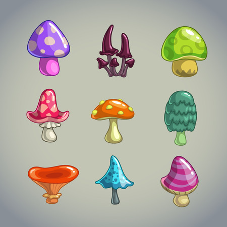 Cartoon mushrooms elements