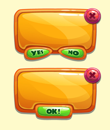 Orange cartoon panels for game or web UI, including yesno and OK buttons Illustration