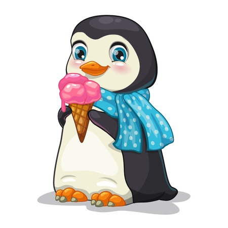 Penguins: cute cartoon penguin with ice-cream, isolate vector illustration