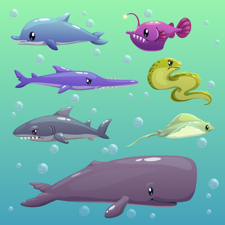 moray: Cartoon sea animals