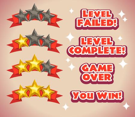 Note du jeu icônes avec des étoiles, des inscriptions pour fin de jeu, les résultats au niveau icon Banque d'images - 38671644