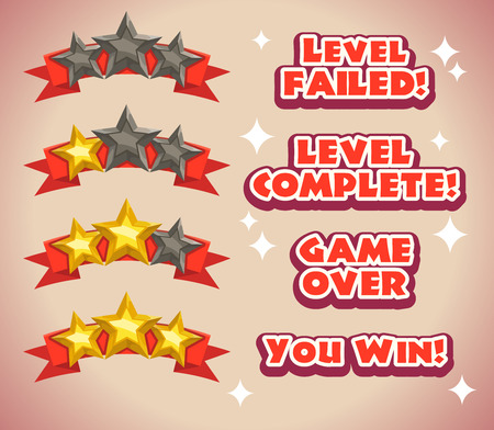Game rating icons with stars, inscriptions for game ending, level results icon
