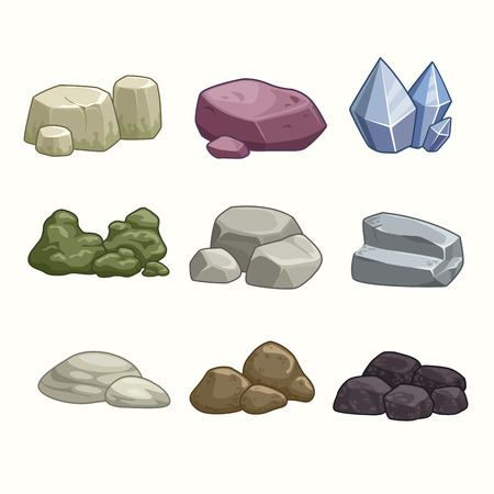 black stone: Set of cartoon stones and minerals Illustration