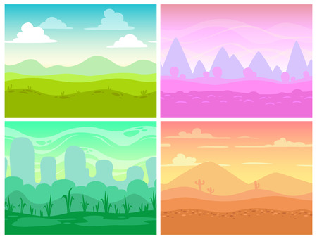 Conjunto de paisajes sin costura de dibujos animados para el diseño del juego, fondo de naturaleza horizontal