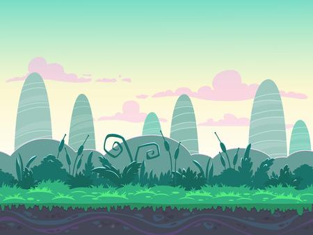 Naadloze ochtend landschap, nooit eindigende vector aard achtergrond met gescheiden lagen voor game design