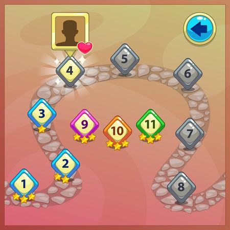 jeu: Indicateurs de niveau pour jeu ui, carte de bande dessin�e pointeurs sur la route Illustration