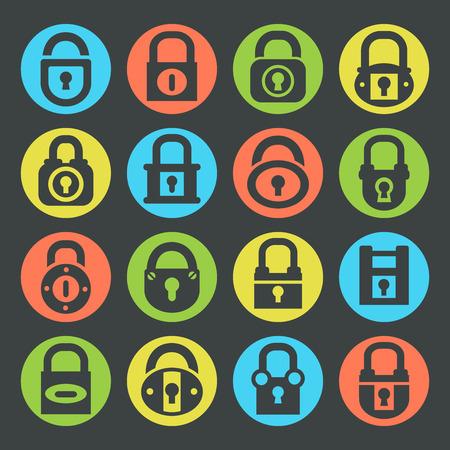 keeper: Lock silhouette icons set, vector Illustration