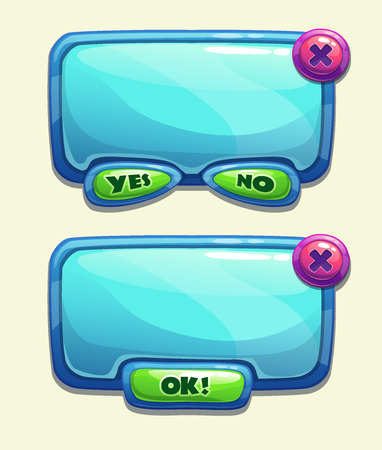 x games: Blue cartoon panels for game UI, including yesno and Ok buttons